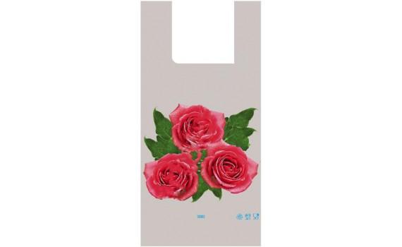 "Пакет ПЭ типа ""майка"" 28+14х55 (35) - ПВД (серый) по 750 (3 Розы)"