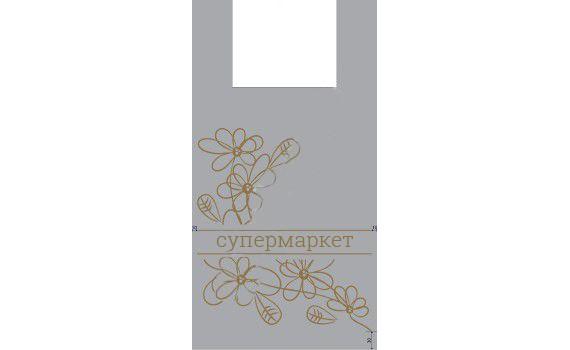 "Пакет ПЭ типа ""майка"" 32+16х60 (35) - ПВД (серый) по 500 (Супермаркет)"