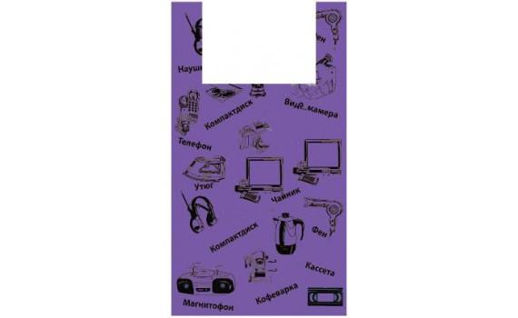 "Пакет ПЭ типа ""майка"" 43+20х69 (21) ""Электроника"" (фиолетовый)"