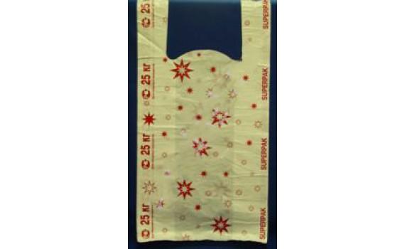 "Пакет ПЭ типа ""майка"" 32+16х60 (15) ""Звезды"" -по 2000 SP (красные на белом фоне)"
