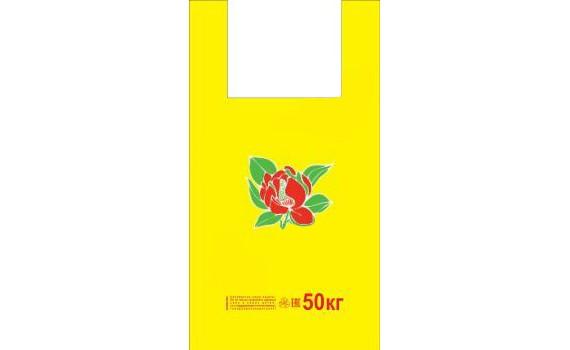 "Пакет ПЭ типа ""майка"" 30+16х55 (25) ПНД (""Пион на желтом"")"