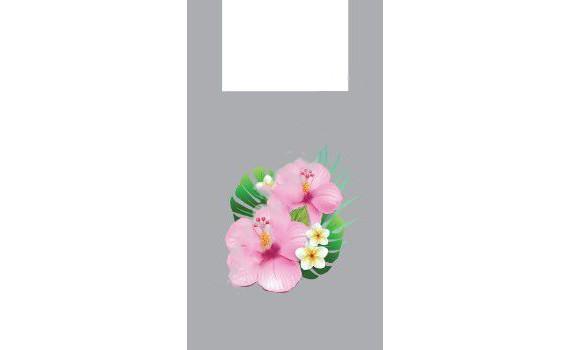 """Пакет ПЭ типа """"майка"""" 28+14х55 (35) - ПВД (серый) по 750 (Цветы)"""