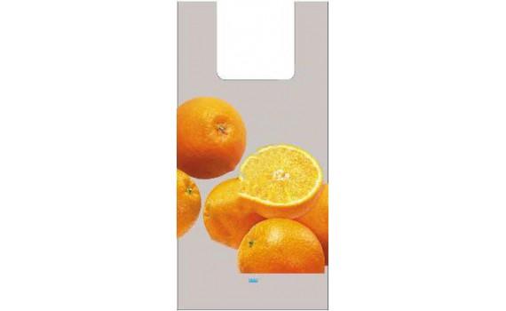 """Пакет ПЭ типа """"майка"""" 28+14х55 (35) - ПВД (серый) по 750 (Апельсины)"""