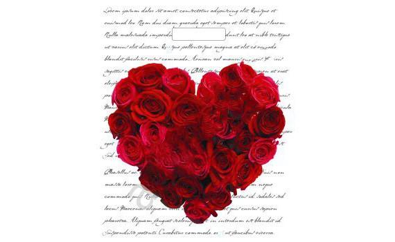 Пакет ПЭ с вырубной ручкой 30х40 (40) (Сердце из роз)