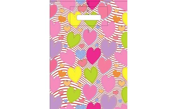 Пакет ПЭ с вырубной ручкой 30х40 (40) (Красочные сердечки)