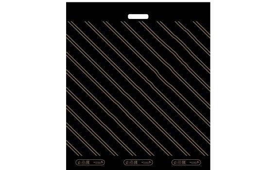 Пакет ПЭ с вырубной ручкой 60х70 (40) (Золотая полоса)