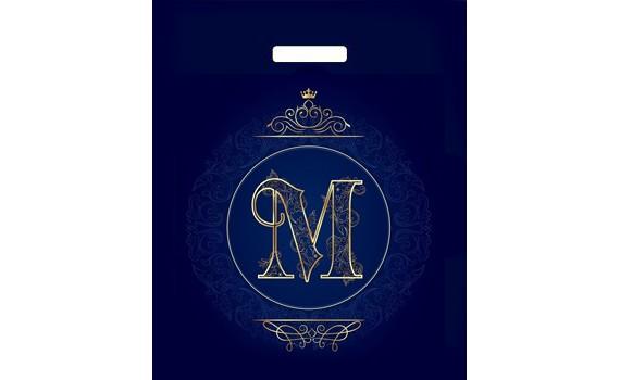 Пакет ПЭ с вырубной ручкой 38х45+3 (60) ламинация (Корона синяя)
