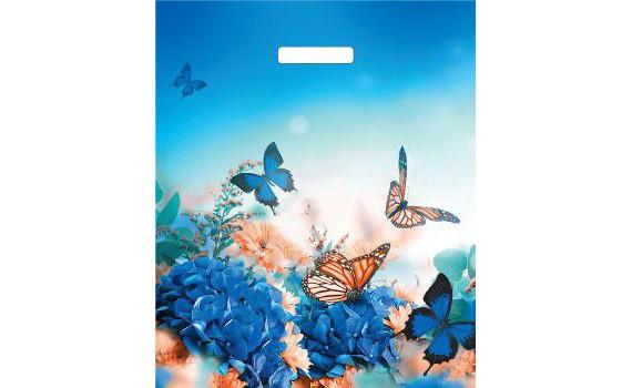 Пакет ПЭ с вырубной ручкой 38х45+3 (45) (Бархатные бабочки)