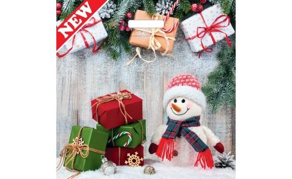 Пакет ПЭ с вырубной ручкой 45х45+12 (70) НГ (Снеговик с подарками)