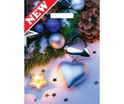 Пакет ПЭ с вырубной ручкой 30x40 (40) НГ (Волшебные звезды)