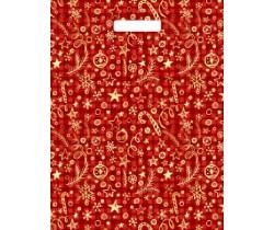 Пакет ПЭ с вырубной ручкой 31x40 (30) НГ (Подарочный красный)