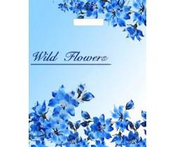 Пакет ПЭ с вырубной ручкой 34х45+3 (33) ПНД (Голубые цветочки)