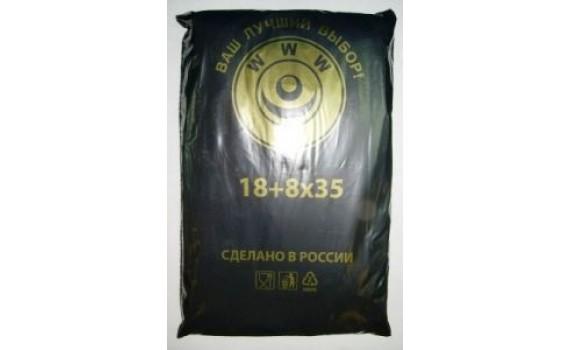 Пакет фасовочный, ПНД 18+8x35 (10) в пластах WWW черная (арт 10050)