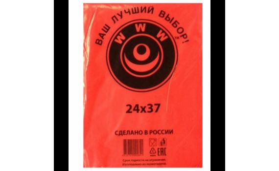 Пакет фасовочный, ПНД 24x37 (7) В пластах WWW красная