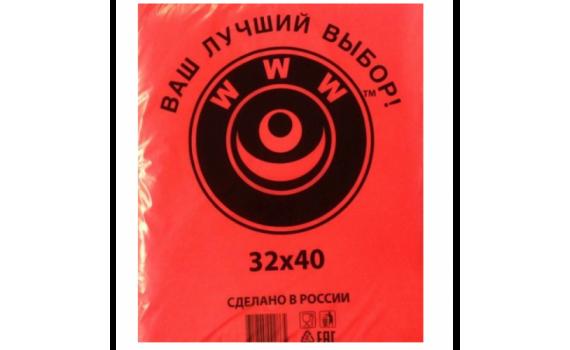 Пакет фасовочный, ПНД 32x40 (7) В пластах WWW красная (арт 70044)