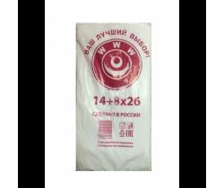 Пакет фасовочный, ПНД 14+8x26 (8) В пластах WWW бело-красная