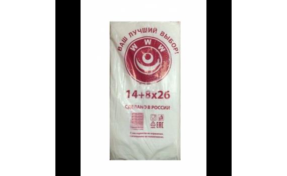 Пакет фасовочный, ПНД 14+8x26 (8) В пластах WWW бело-красная (арт 80050)