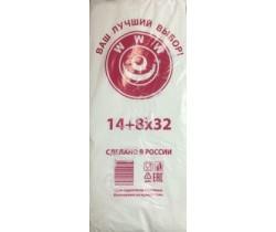 Пакет фасовочный, ПНД 14+8x35 (8) В пластах WWW бело-красная