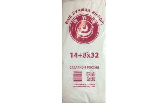 Пакет фасовочный, ПНД 14+8x35 (8) В пластах WWW бело-красная (арт 80050)
