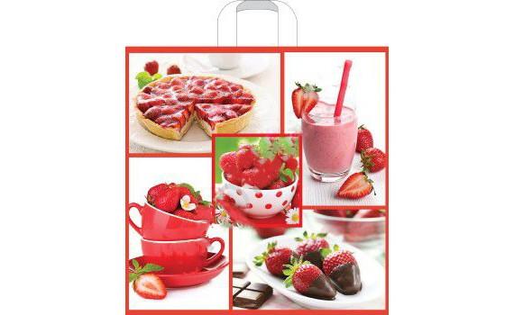 Пакет ПЭ с петлевой ручкой 45x45+10 (70) (Клубничный десерт)