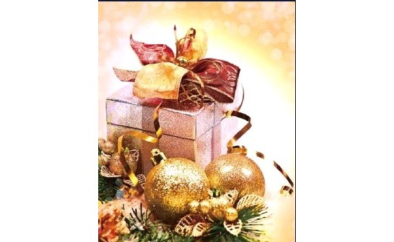 Пакет ПЭ с петлевой ручкой 45x45+10 (70) НГ (Золотой подарок)