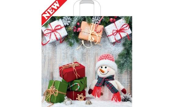 Пакет ПЭ с петлевой ручкой 45x45+10 (70) НГ (Снеговик с подарками)