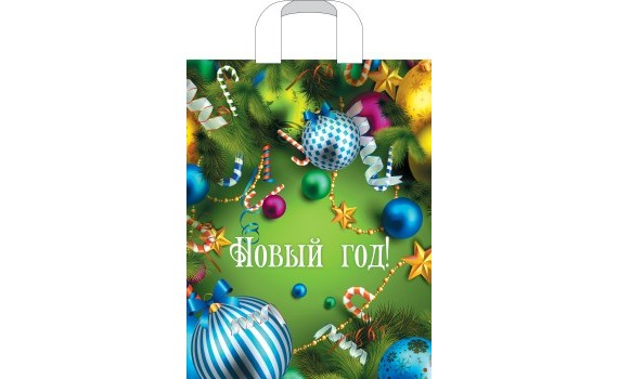 Пакет ПЭ с петлевой ручкой 31х40 (60) НГ ламинация (Новогоднее веселье)