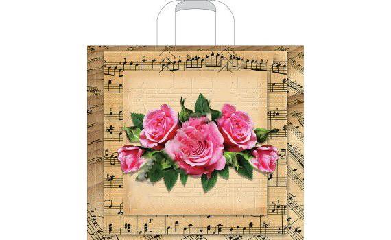 Пакет ПЭ с петлевой ручкой 40х36+8 (70) (Мелодия роз)