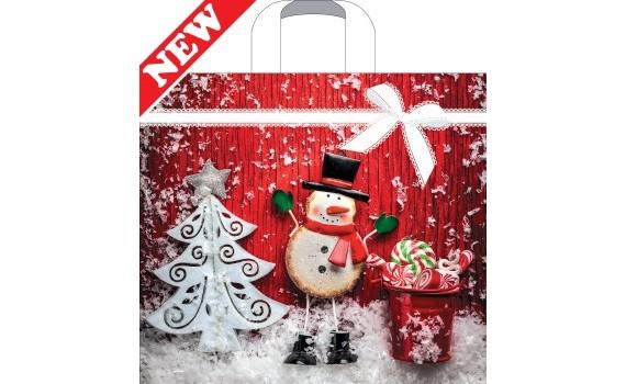 Пакет ПЭ с петлевой ручкой 40х36+8 (70) НГ (Кружевной снеговик)