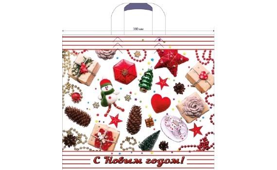 Пакет ПЭ с петлевой ручкой 40х36+8 (70) НГ (Новогодние украшения)