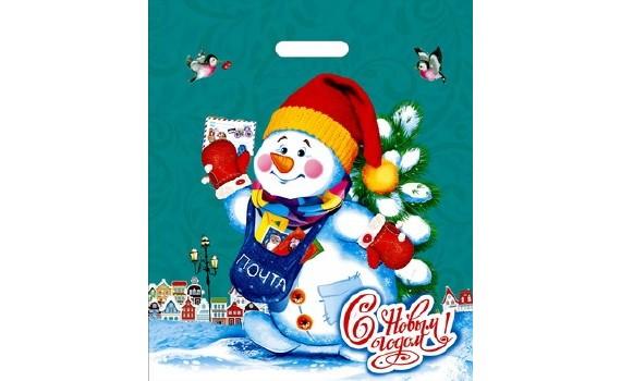 Пакет ПЭ с вырубной ручкой 40х47+6 (45) НГ (Снеговичок)