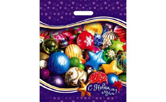 Пакет ПЭ с вырубной ручкой 40х47+6 (45) НГ (Новогодние игрушки)