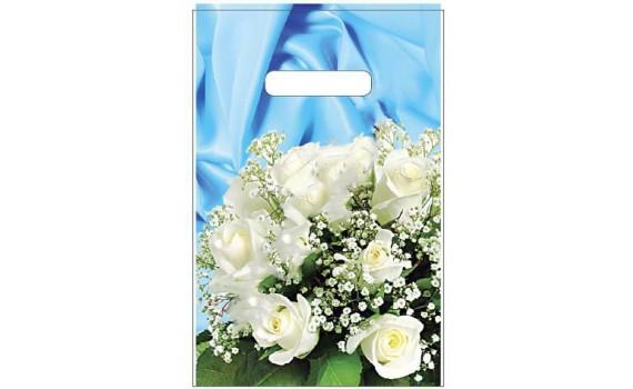 Пакет с вырубной неусиленной ручкой 20х30 (35) (Букет белых роз)
