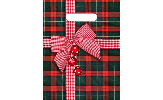 Пакет с вырубной неусиленной ручкой 23х30 (30) НГ (Шотландский подарок)