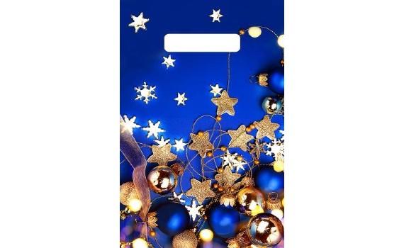 Пакет с вырубной неусиленной ручкой 23х30 (30) НГ (Звездочки на синем)
