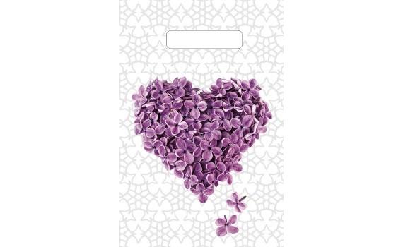 Пакет с вырубной неусиленной ручкой 20х30 (30) (Сиреневое сердце)