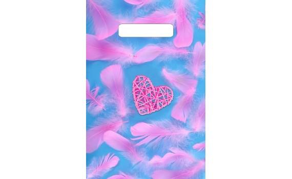 Пакет с вырубной неусиленной ручкой 20х30 (30) (Розовое сердечко)