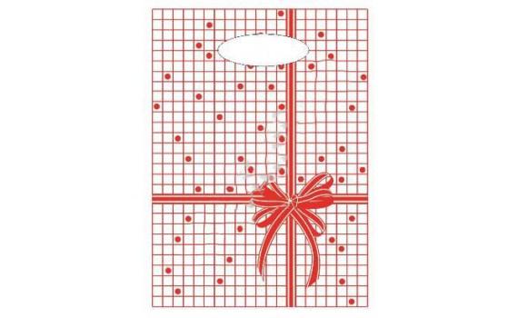 Пакет с вырубной неусиленной ручкой 22x30 (12) Мини одностор. (Красная клетка)