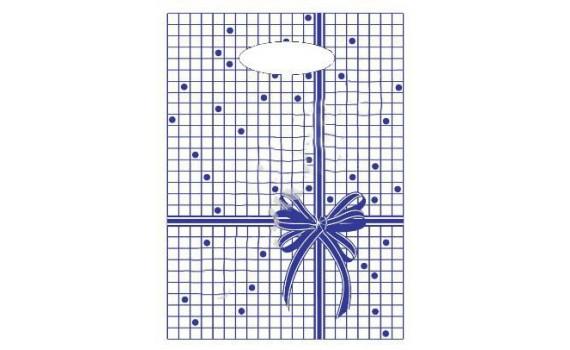 Пакет с вырубной неусиленной ручкой 22x30 (12) Мини одностор. (Синяя клетка)