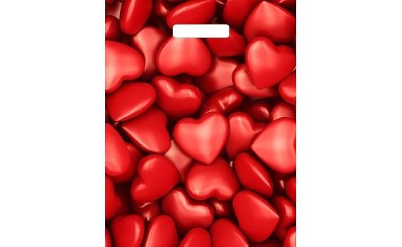 Пакет ПЭ с вырубной ручкой 31х40+6 (60) глянец (Сердечки)