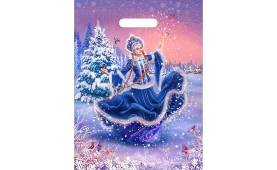 Пакет ПЭ с вырубной ручкой 31х40 (60) НГ ламинация (Танец снегурочки)