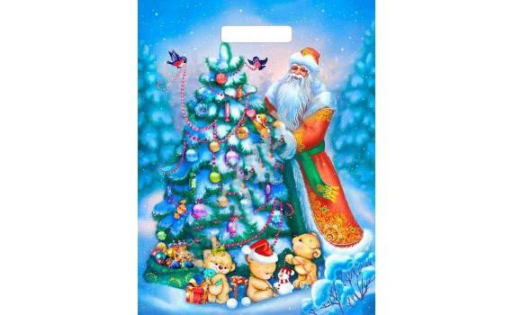 Пакет ПЭ с вырубной ручкой 31х40 (60) НГ ламинация (Дед и мишки)