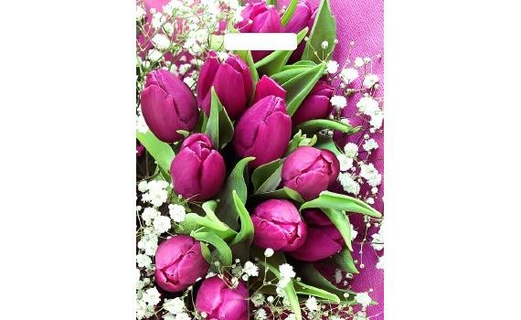 Пакет ПЭ с вырубной ручкой 31х40 (60) ламинация (Розовые тюльпаны)