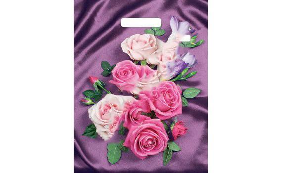Пакет ПЭ с вырубной ручкой 31х40 (60) ламинация (Атласные розы)