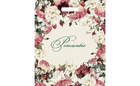Пакет ПЭ с вырубной ручкой 38х45+6 (60) глянец (Благородные цветы)