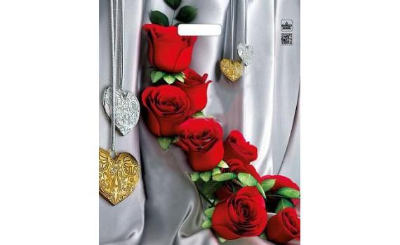 Пакет ПЭ с вырубной ручкой 38х45+3 (60) ламинация (Цветы страсти)