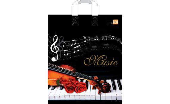 Пакет ПЭ с петлевой ручкой 38х45+3 (60) ламинация (Музыка)