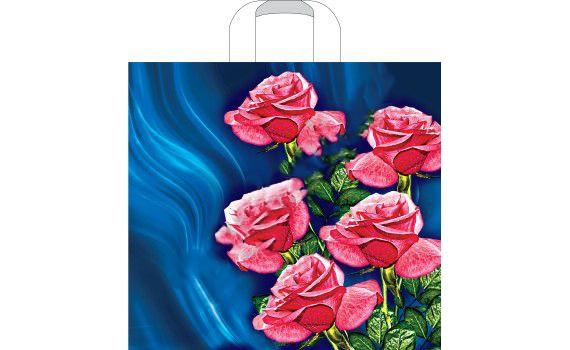 Пакет ПЭ с петлевой ручкой 38х34+8 (100) (Люкс) (Розы на синем)