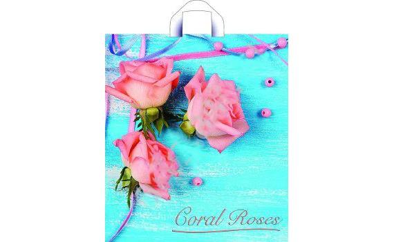 Пакет ПЭ с петлевой ручкой 38х42+6 (37) ПНД (Коралловые розы)