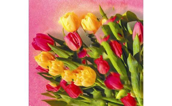 Пакет ПЭ с петлевой ручкой 38х35+6 (85) Элит Глянец (Царственные тюльпаны)